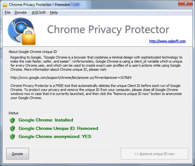 Screenshot of Chrome Privacy Proector: after deleting Google Chrome unique ID