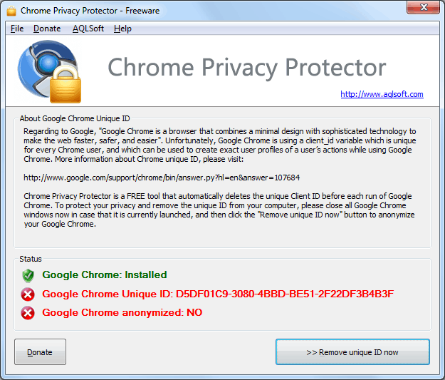 Screenshot of Chrome Privacy Proector: before deleting Google Chrome unique ID