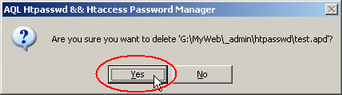 Screenshot: A confirmation dialog open, click on Yes button. The project has been deleted