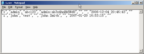 Screenshot: The Notepad open the file c:\1.csv. The data saved successfully