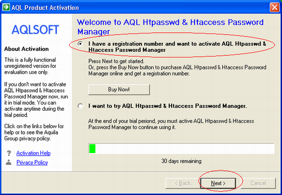 Screenshot: Choose 'I have a registration number and want to activate AQL .htpasswd and .htaccess Password Manager'