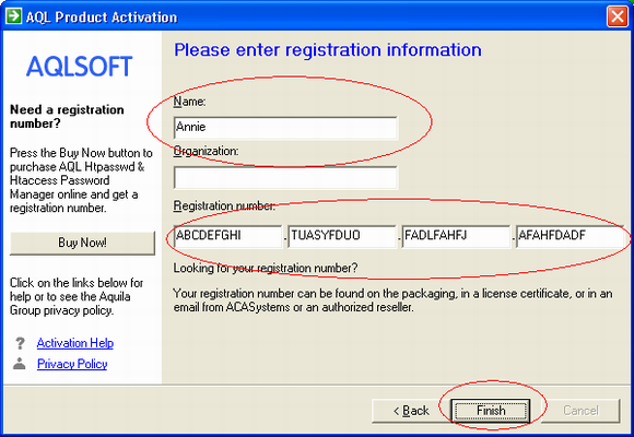 Screenshot: Enter your name and registration number carefully