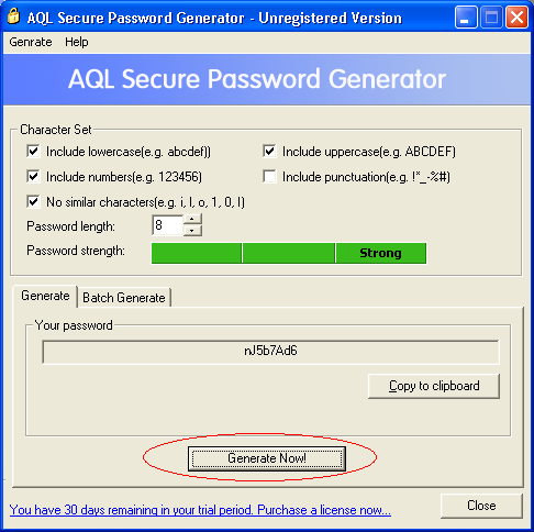 The screenshot of AQL Secure Password Generator's main window