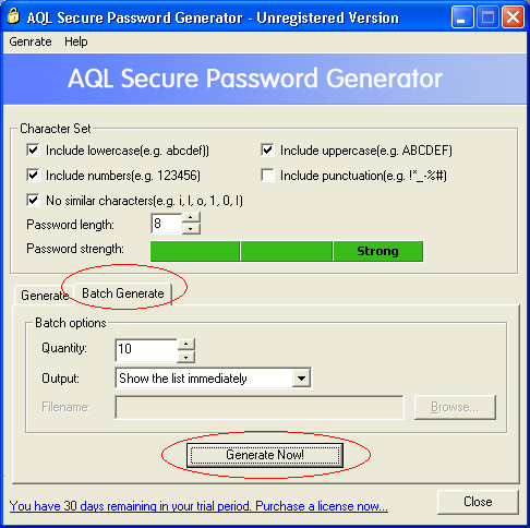 The screenshot of AQL Secure Password Generator's  Batch Generate window