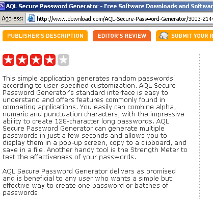 The screenshots of CNET Editor's review: AQL Secure Password Generator delivers as promised and is beneficial to any user who wants a simple but effective way to create one password or batches of passwords