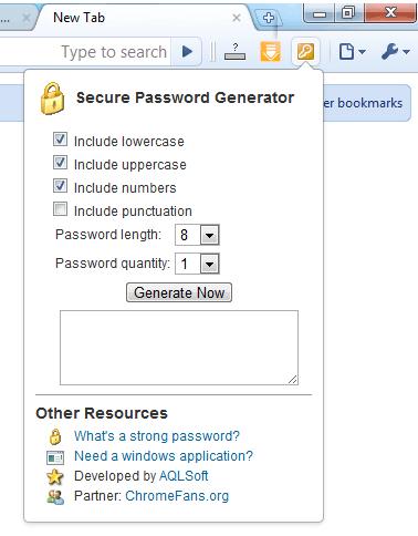 Screenshot: Secure Password Generator extension for Google Chrome